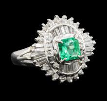 0.58 ctw Emerald and Diamond Ring - Platinum
