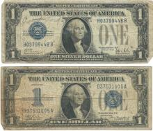 1928 $1 Silver Certificate Currency Lot of 2
