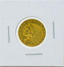1909 $5 Indian Head Gold Coin AU