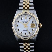 Rolex Two-Tone MOP StringDiamond and Sapphire DateJust Men's Watch