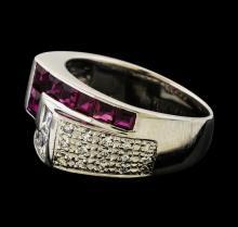 0.79 ctw Ruby and Diamond Ring - Platinum