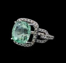 10.37 ctw Emerald and Diamond Ring - 14KT White Gold