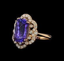 5.58 ctw Tanzanite and Diamond Ring - 14KT Rose Gold