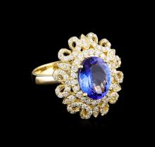 3.56 ctw Tanzanite and Diamond Ring - 14KT Yellow Gold
