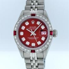 Rolex Stainless Steel Red Diamond DateJust Ladies Watch