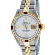 Rolex Two-Tone MOP Diamond and Ruby DateJust Ladies Watch
