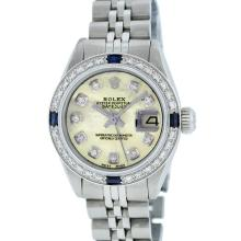 Rolex Stainless Steel Yellow MOP Diamond and Sapphire DateJust Ladies Watch