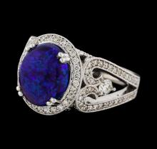 3.85 ctw Opal and Diamond Ring - 14KT White Gold