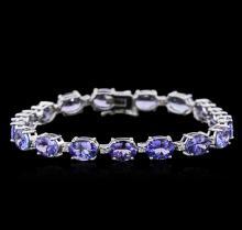 14KT White Gold 20.83 ctw Tanzanite and Diamond Bracelet