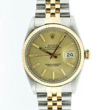 Rolex Two-Tone Champagne Index and Fluted Bezel DateJust Men's Watch