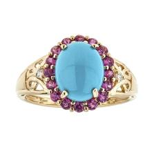 2.17 ctw Turquoise, Ruby, and Diamond Ring - 14KT Yellow Gold