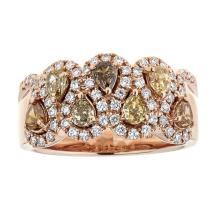 0.95 ctw Yellow, Champagne, and Cognac Diamond Ring - 18KT Rose Gold