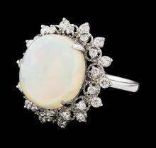 8.00 ctw Opal and Diamond Ring - 14KT White Gold