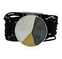 Multi Strand Cord Medallion Bracelet - Rhodium Plated
