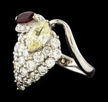 1.29 ctw Diamond, Diamond and Ruby Ring - Platinum
