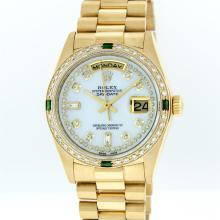 Rolex 18KT Gold President Diamond and Emerald Day-Date Men's Watch