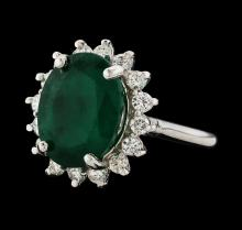 7.18 ctw Emerald and Diamond Ring - 14KT White Gold