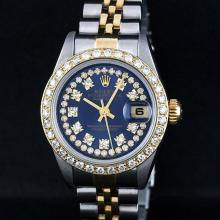 Rolex Two-Tone Blue String Diamond VVS Beadset DateJust Ladies Watch