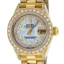 Rolex 18KT Gold President Diamond Quickset Ladies Watch
