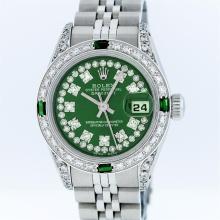 Rolex Stainless Steel Green String Diamond VVS DateJust Ladies Watch