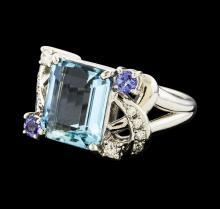 4.02 ctw Aquamarine and Diamond Ring - Platinum
