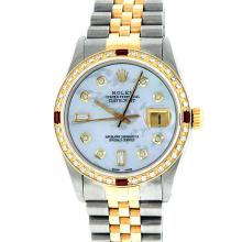 Rolex Two-Tone Mother Of Pearl Diamond and Ruby DateJust Men's Watch