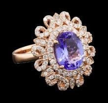 3.92 ctw Tanzanite and Diamond Ring - 14KT Rose Gold