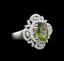 GIA Cert 4.88 ctw Green Sapphire and Diamond Ring - Platinum