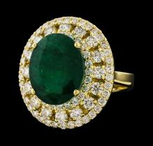 6.63 ctw Emerald and Diamond Ring - 14KT Yellow Gold