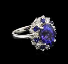4.82 ctw Tanzanite, Blue Sapphire and Diamond Ring - 14KT White Gold