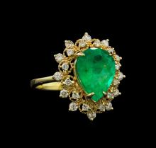 3.65 ctw Emerald and Diamond Ring - 14KT Yellow Gold