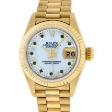 Rolex 18KT Gold President Sapphire Ladies Watch