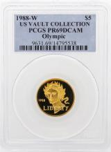 1988-W PCGS PR69DCAM US Vault Collection $5 Olympic Gold Coin