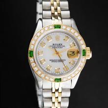 Rolex Two-Tone MOP Emerald DateJust Ladies Watch