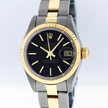 Rolex Two-Tone Black Tapestry Index Oyster Band DateJust Ladies Watch
