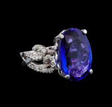 GIA Cert 11.49 ctw Tanzanite and Diamond Ring - 14KT White Gold