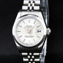 Rolex Stainless Steel Silver Index Smooth Bezel Quickset DateJust Ladies Watch