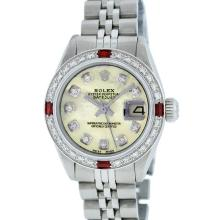 Rolex Stainless Steel Yellow MOP Diamond and Ruby DateJust Ladies Watch