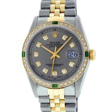 Rolex Mens 2T Yellow Gold & SS Slate Grey Diamond And Emerald Datejust Wristwatc