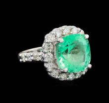 GIA Cert 7.46 ctw Emerald and Diamond Ring - 14KT White Gold