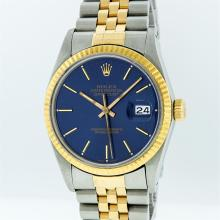 Rolex Two-Tone Blue Index DateJust Men's Watch