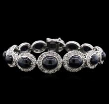 39.31 ctw Star Sapphire and Diamond Bracelet - 14KT White Gold