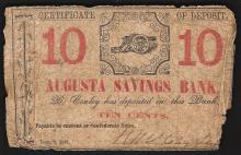 10 Cent Cert of Deposit Augusta Savings Bank Note