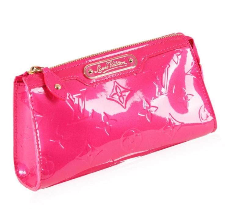 Louis Vuitton Pink Patent Leather Monogram Clutch