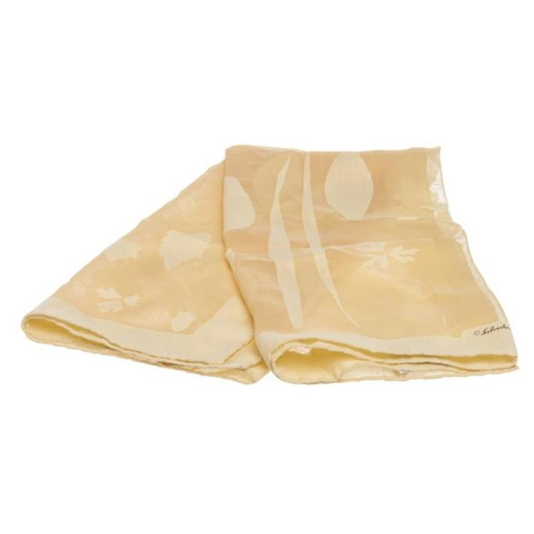 Salvatore Ferragamo Ivory Sheer Silk Print Scarf
