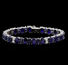 31.89 ctw Blue Sapphire and Diamond Bracelet - 14KT White Gold