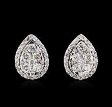 0.95 ctw Diamond Earrings - 14KT White Gold