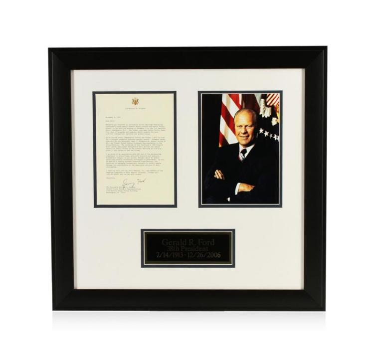 Gerald R. Ford Signed Letter Display PSA Certified