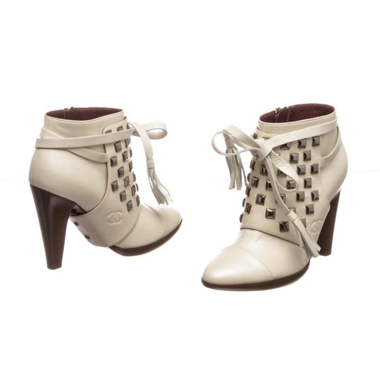 Chanel White Leather Studded Heel Booties 35