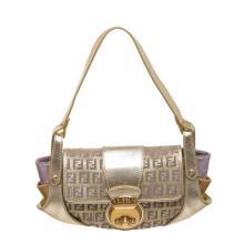 Fendi Metallic Gold Purple Fabric Leather Borsa Compilatior Shoulder Bag